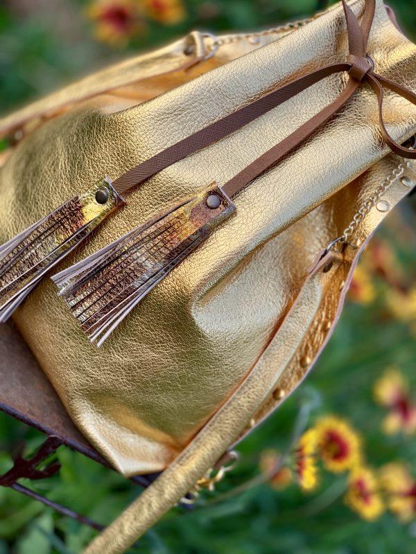 arany, valódi bőr, átalakítható, válltáska, hátizsák, egyedi, kézzel készült