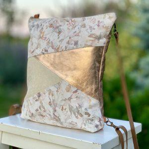 tangram, válltáska, hátizsák, egyedi, pasztell, rosegold, átalakítható, kézzel készült