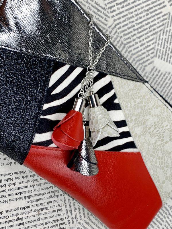 clutch, valódi bőr, zebra, egyedi, kézzel készült, kézi táska