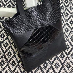 bőr táska, valódi bőr, szegecses, fekete, shopper, női táska