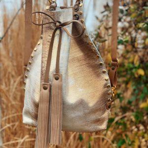 arany, ombre, valódi bőr, bőr táska, egyedi, összehúzós, átalakítható, bőr válltáska, bőr hátizsák
