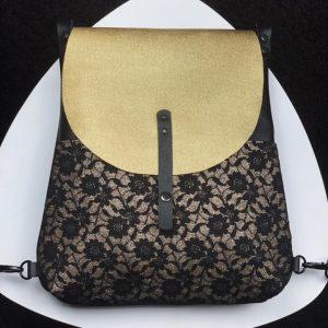 arany, fekete, csipke, bőr hátizsák, bőr válltáska, egyedi, kézzel készült, valódi bőr, fedeles táska