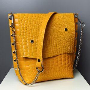 fedeles, messenger bag, valódi bőr, sárga táska, fekete táska, bőr táska, krokodil minta