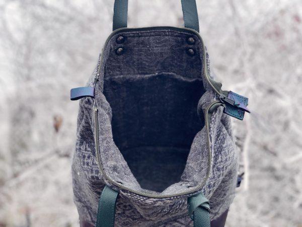 kézzel készült táska, egyedi táska, újrahasznosított, gyapjú, shopper, valódi bőr, repurpose